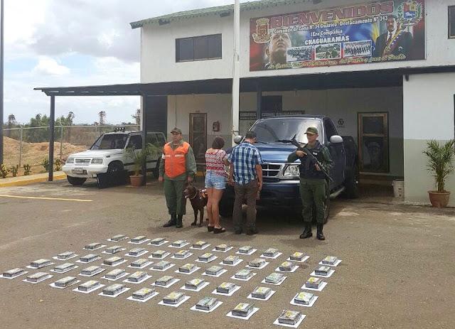 GNB incautó contrabando de 50 panelas de cocaína en Chaguaramas
