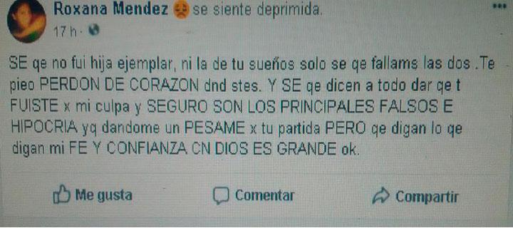 mensaje a madre estrangulada en Aragua publicado y compartio en facebook