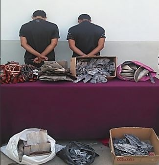 DESUR arrestó a sujetos por contrabando de 37 kilos de cobre