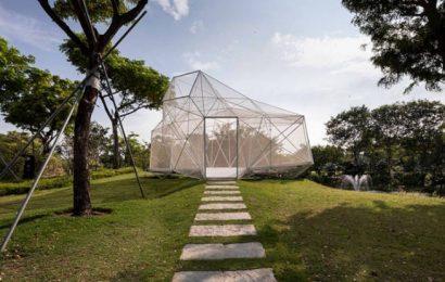 AIRLAB, el pabellón hecho con nodos de acero impresos en 3D
